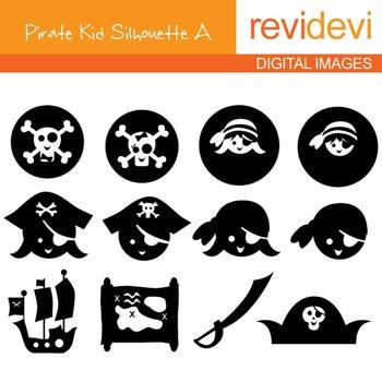 Clip art Pirate Kid Silhouette A (digital graphics) 07084