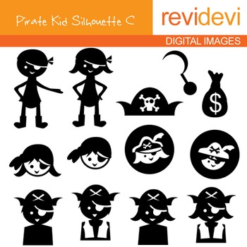 Clip art Pirate Kid Silhouette C (digital graphics) 07086