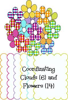 Clip art! Plaids 'n Dots Collection 1 - Papers, Frames, and Flowers
