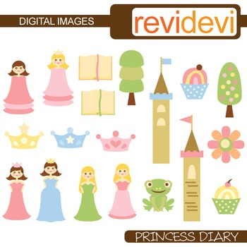 Clip art Princess Diary (cute princess, castle, frog, crown) fairytale clipart
