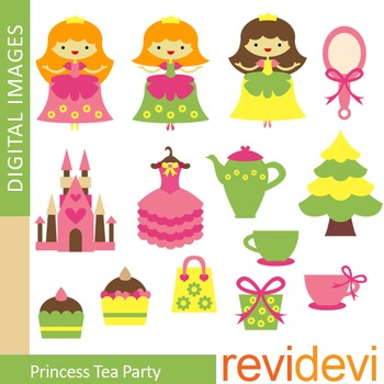 Clip art Princess Tea Party (cute girl graphics in pink and green) 07324