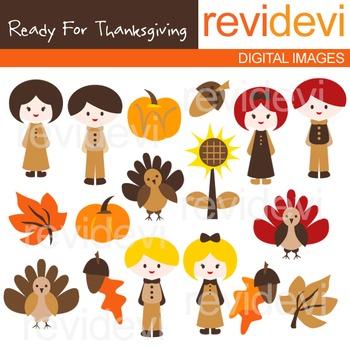 Clip art Ready for thanksgiving (kids, turkey, pilgrim) clipart 08074
