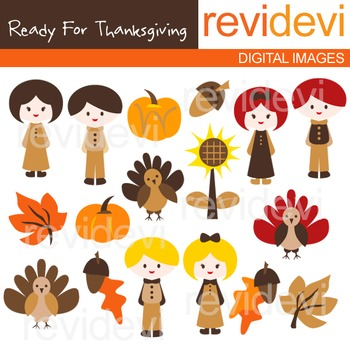 Clip art Ready for thanksgiving (kids, turkey, pilgrim) cl