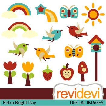 Clip art Retro Bright Day 07253 (sun, birds, flowers, butterfly)