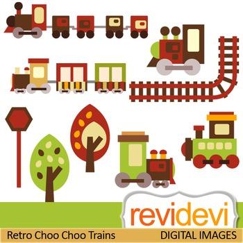 Clip art Retro Choo Choo Trains 07277 (teacher resource clipart)