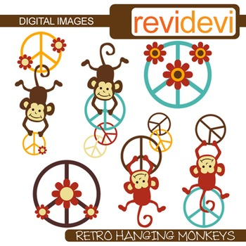 Clip art Retro Hanging Monkeys