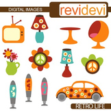 Clip art Retro Interior (seventies, sixties, peace sign, hippies, lava lamps)
