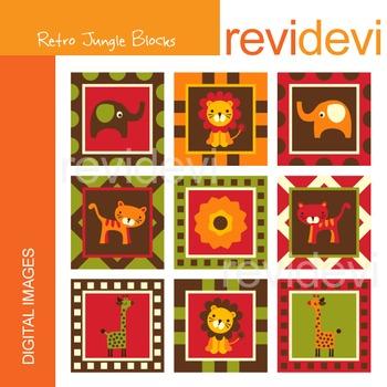 Clip art Retro Jungle Blocks 07202 (elephants, lions, tigers, giraffes) clipart