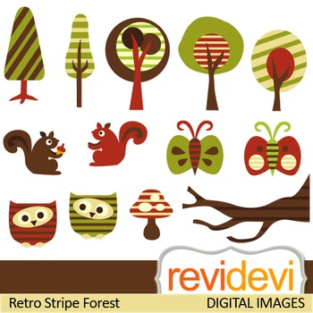 Clip art Retro Stripe Forest 07246 (trees, owls, butterflies) cliparts