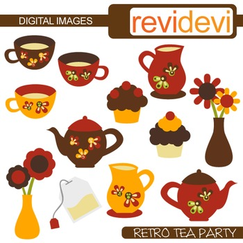Clip art Retro Tea Party (tea pot, tea cup, tea set) clipart