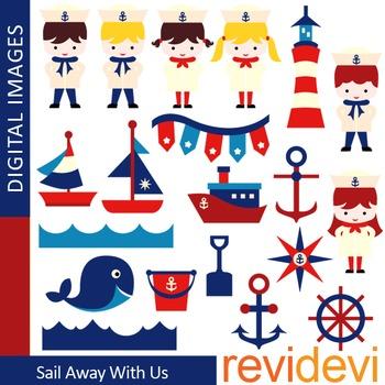 Clip art Sail Away Nautical Kids Red Blue (sailor, boat)
