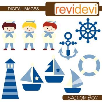 Clip art Sailor Boy (nautical, sail away, boat, anchor, light house) blue