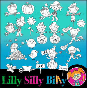 Clip art Scarecrow/ Fall. BLACK AND WHITE & Color Bundle. {Lilly Silly Billy}