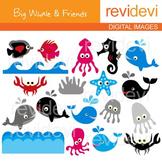 Clip art Sea animals (dolphin, fish, jellyfish, seahorse, whale)