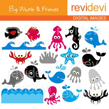 Clip art Sea animals (dolphin, fish, jellyfish, seahorse, whale)