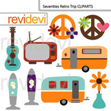 Clip art Seventies Retro (caravan, lava lamp, peace sign) digital clipart