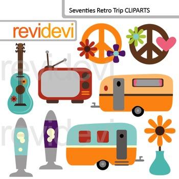 Clip art Seventies Retro (caravan, lava lamp, peace sign) digital clipart