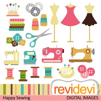 Clip art: Sewing machine, needle, thread, buttons, mannequin