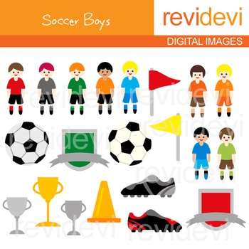Clip art Soccer Boys 07173 (football, sport, kids, soccer ball)