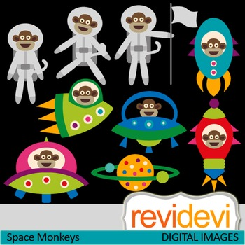 Clip art Space Monkeys 07430 (astronaut, ufo, space ship, rocket)