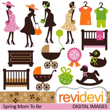 Clip art Spring Mom To Be (maternity, pregnant woman)
