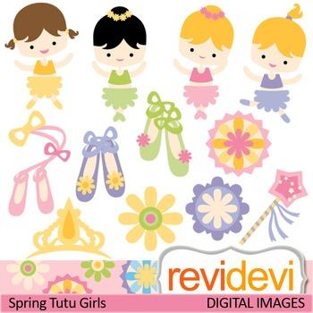 Clip art: Spring Tutu Girls (cute ballerina clipart, ballet shoes)