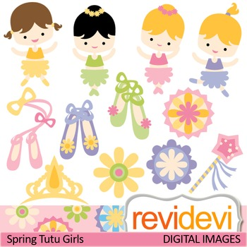 Clip art: Spring Tutu Girls (cute ballerina clipart, balle