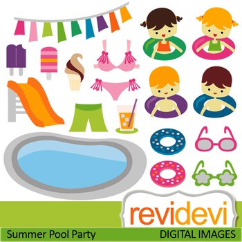 Clip art: Summer pool party (kids, boys, girls) clipart