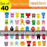 Clip art Super Monsters (40 cute graphics for teachers and educators)