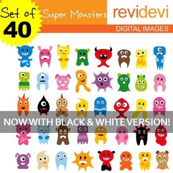 Clip art Super Monsters (40 cute graphics for teachers and