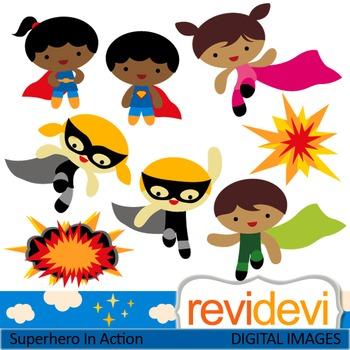 Clip art Superhero in Action 07433 (cute kids clipart) teacher resource