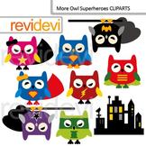 Clip art Superhero owls / cute owl digital clipart / commercial use