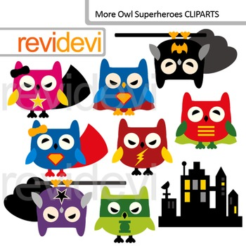 Clip art Superhero owls / cute owl digital clipart / comme