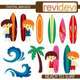 Clip art Surf's up (kids, surf boards, waves)