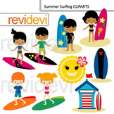 Clip art Surfs up - summer surfing - kids with surf boards cliparts