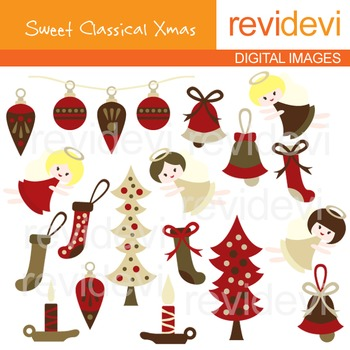 Clip art Sweet Classical Xmas (Christmas, marroon, angels, ornaments) 08062