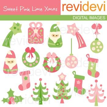Clip art Sweet Pink Lime Xmas (Christmas trees, santa, wreath) 08073