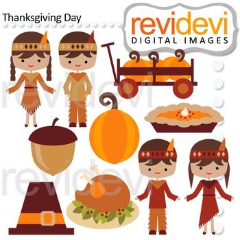 Clip art Thanksgiving Day (native, boys, girls) clipart 08129