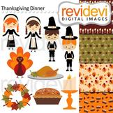 Clip art Thanksgiving Dinner (pilgrim, turkey, boys, girls) clipart 08128