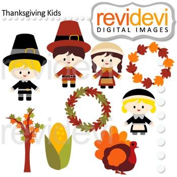 Clip art Thanksgiving Kids (pilgrim, boys, girls, turkey)