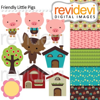 Clip art: Three little pig and big bad wolf inspired