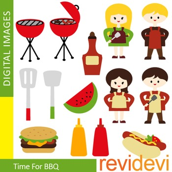 Clip art Time for BBQ (barberque, kids with apron, cooking) 07317