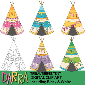 Clip art Tribal Teepee Tent - camping clipart