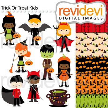 Clip art Trick or Treat Kids (boys and girls in halloween costumes) 08118