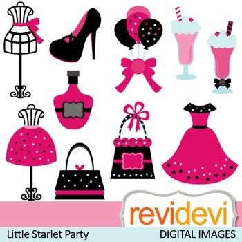 Clip art: Tween Chic Starlet Party, pink black (dress, mannequin, purse)