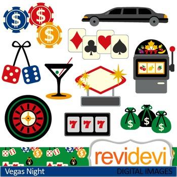 Clip art Vegas Night 07438 (chips, dice, limousine, jackpot) casino clipart