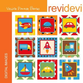 Clip art: Vehicle Parade Block 07290 (transportation) square images