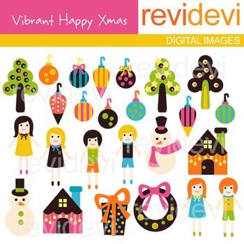 Clip art Vibrant Happy Xmas (christmas ornaments, kids) cl