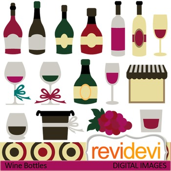 Clip art: Wine bottles, wine glasses (vineyard, party) clipart