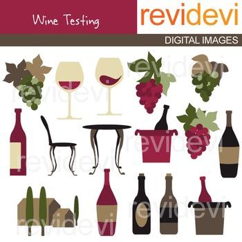 Clip art Wine tasting (vineyard, wine bottles, wine glasses, vineyard)